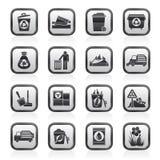 Icone dei rifiuti e dell'immondizia Fotografie Stock