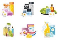 Icone dei rifornimenti di salute e di bellezza di vettore Fotografia Stock Libera da Diritti
