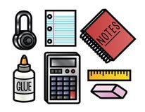 Icone dei rifornimenti di scuola Fotografie Stock