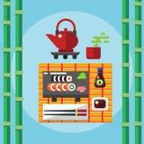 Icone dei rotoli e dei sushi Fotografia Stock