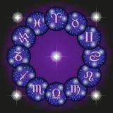 Icone dei segni dello zodiaco messe Fotografia Stock