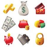Icone dei soldi Fotografia Stock Libera da Diritti