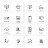 Icone dei soldi & di affari messe Progettazione piana Fotografia Stock