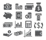 Icone dei soldi impostate Fotografie Stock Libere da Diritti