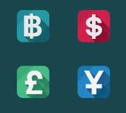 Icone dei soldi piani di vettore messe Fotografie Stock Libere da Diritti