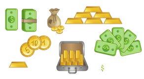 Icone dei soldi su bianco Fotografie Stock Libere da Diritti