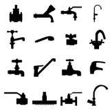 Icone dei tipi differenti di rubinetti Fotografie Stock Libere da Diritti