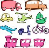 Icone dei veicoli del trasporto Fotografie Stock Libere da Diritti