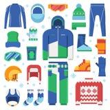Icone dei vestiti e degli accessori degli sport invernali royalty illustrazione gratis