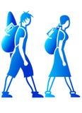 Icone dei viaggiatori con zaino e sacco a pelo Fotografia Stock