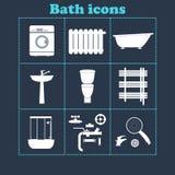 Icone del bagno messe attrezzatura domestica Illustrazione di vettore Fotografia Stock