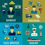 Icone del banchiere, del tassista, del postino e del marinaio royalty illustrazione gratis