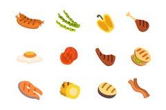 Icone del barbecue messe Grigli l'alimento, il bbq, l'arrosto, illustrazione di vettore del fumetto della bistecca Fotografie Stock Libere da Diritti