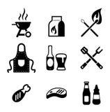 Icone del barbecue o della griglia Fotografie Stock