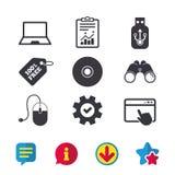 Icone del bastone della chiavetta USB e di Notebook PC Fotografie Stock Libere da Diritti