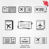 Icone del biglietto aereo Fotografia Stock Libera da Diritti