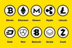 Icone del blockchain di Cryptocurrency un fondo giallo Valuta virtuale stabilita Segni commerciali di vettore: bitcoin, ethereum, Fotografia Stock