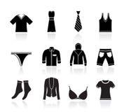 Icone del boutique e di modo dei vestiti Fotografie Stock Libere da Diritti
