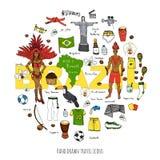 Icone del Brasile messe Fotografia Stock Libera da Diritti