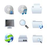Icone del browser e del calcolatore Fotografie Stock