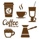 Icone del caffè con fondo bianco Fotografia Stock Libera da Diritti