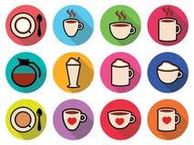 Icone del caffè messe a colori Fotografia Stock Libera da Diritti