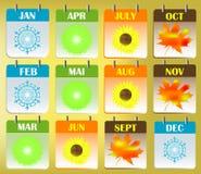 Icone del calendario Fotografia Stock