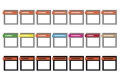 Icone del calendario di giorni di settimana Immagini Stock Libere da Diritti
