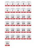 Icone del calendario di luglio Fotografie Stock Libere da Diritti