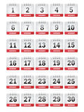 Icone del calendario di novembre Immagini Stock Libere da Diritti
