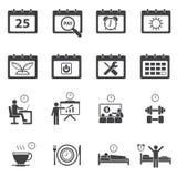 Icone del calendario e di tempo impostate Fotografia Stock Libera da Diritti