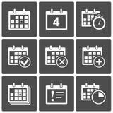 Icone del calendario impostate Fotografie Stock
