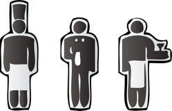Icone del cameriere e del cuoco unico Fotografia Stock Libera da Diritti