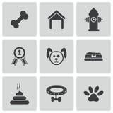 Icone del cane nero di vettore messe Fotografie Stock