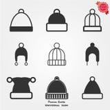 Icone del cappello di inverno Fotografia Stock