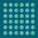 Icone del carattere di numeri e di alfabeti, vettore piano di progettazione Fotografia Stock