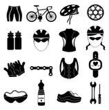 Icone del cavaliere della bicicletta messe illustrazione di stock