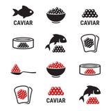 Icone del caviale messe illustrazione vettoriale