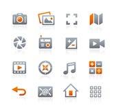 Icone 5 del cellulare e di web -- Serie della grafite Fotografie Stock