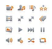 Icone 7 del cellulare e di web -- Serie della grafite Fotografia Stock