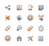 Icone 10 del cellulare e di web -- Serie della grafite Fotografie Stock Libere da Diritti