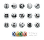 Icone del cellulare e di web 4 serie rotonde del metallo di // Fotografia Stock Libera da Diritti