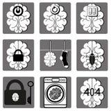 Icone del cervello Fotografia Stock Libera da Diritti