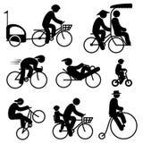 Icone del ciclista della gente Immagini Stock