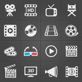 Icone del cinema su fondo nero Vettore Fotografia Stock