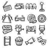 Icone del cinematografo impostate illustrazione di stock