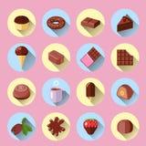 Icone del cioccolato piane Immagini Stock