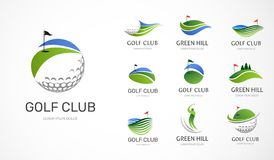 Icone del club di golf, simboli, elementi e raccolta di logo illustrazione di stock