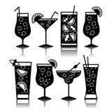 Icone del cocktail Generi differenti di vetri Fotografia Stock