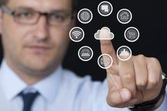 Icone del computer e dell'uomo d'affari Immagini Stock Libere da Diritti